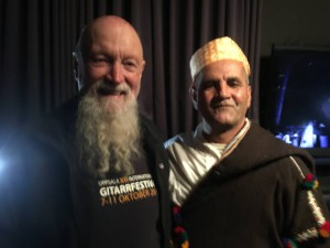 Minimalist composer Terry Riley, in town for his own performances in Tokyo that week, came straight from the airport to the studio to check out the set and meet the Masters. Pictured: Master Musicians Of Joujouka group leader Ahmed El Attar with Terry Riley.